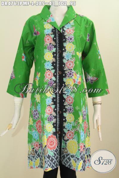 Dress Batik Hijau Bunga-Bunga Desain Mewah Buatan Solo, Pakaian Batik Modis Kwalitas Istimewa Daleman Full Furing Untuk Kerja Bisa Kondangan Juga Pas, Size L