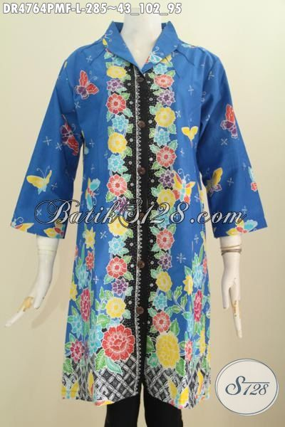 Jual Baju Dress Warna Biru Ukuran L, Pakaian Batik Full Furing Tricot Motif Bunga Proses Kombinasi Tulis Dengan Desain Mewah Modis Untuk Berbagai Acara Spesial, Size L