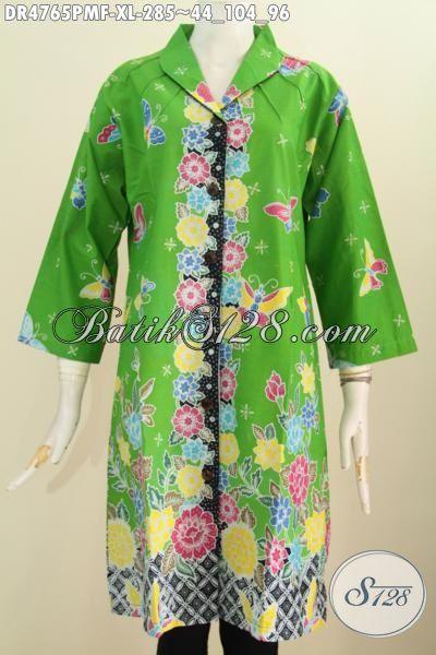 Baju Batik Hijau Muda Untuk Wanita Dewasa Terlihat Bersinar Dan Mempesona, Pakaian Batik Modis Motif Bunga Desain Terkini Proses Kombinasi Tulis Pakai Furing Ukuran XL