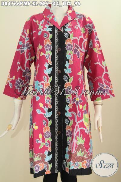 Baju Batik Dress Premium Kombinasi Tulis, Hadir Dengan Desain Nan Istimewa Berbahan Halus Motif Bunga Dengan Dasar Merah Nan Mewah, Pakaian Batik Cewek Terbaru Daleman Full Furing Istimewa Buat Jalan-Jalan, Size XL