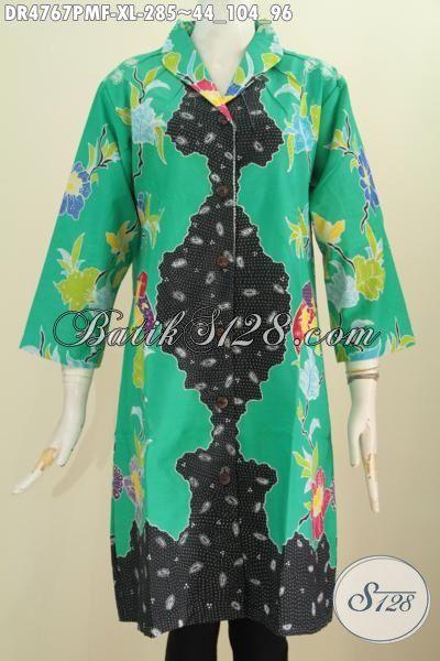 Batik Dress Kwalitas Bagus Bahan Halus Motif Trendy Kombinasi Tulis, Busana Batik Mewah Buatan Solo Daleman Full Tricot Untuk Wanita Dewasa Tampil Modis Mempesona [DR4767PMF-XL]