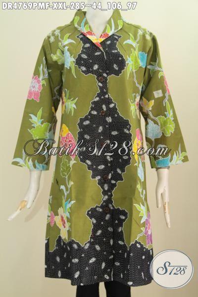 Pakaian Dress Batik Kwalitas Premium, Busana Batik Modis Halus Motif Keren Proses Kombinasi Tulis Dengan Desain Mewah, Tersedia Ukuran 3L Untuk Wanita Berbadan Gemuk