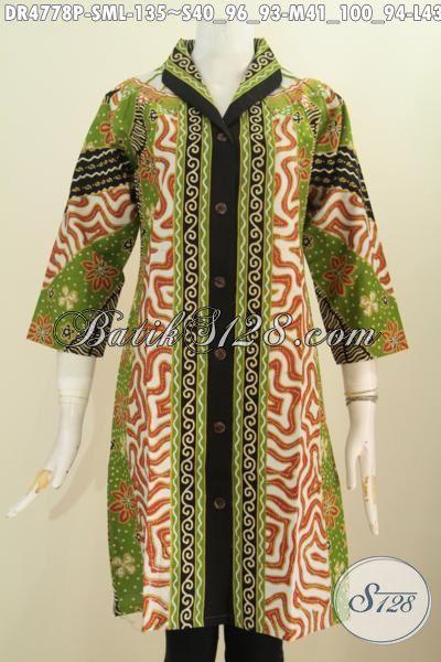 Baju Dress Batik Kerah Langsung Motif Sinaran Proses Printing, Busana Batik Modis Elegan Bahan Adem Trend Masa Kini Pas Banget Untuk Seragam Kerja, Size S – M – L