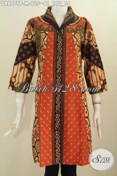 Pakaian Dress Batik Wanita Muda Dan Dewasa, Hadir Dengan Desain Dress Kerah Langsung Kwalitas Bagus Berbahan Adem Motif Sinaran Proses Printing Elegan Buata Acara Formal, Size M