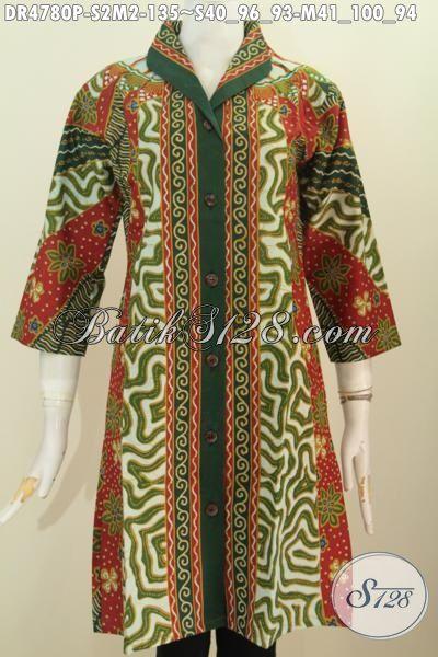 Baju Dress Batik Kerja Terbaru, Hadir Dengan Desain Kerah Kotak Dan Elegan, Baju Batik Formal Motif Klasik Sinaran Proses Printing Untuk Penampilan Makin Berkelas, Size S – M
