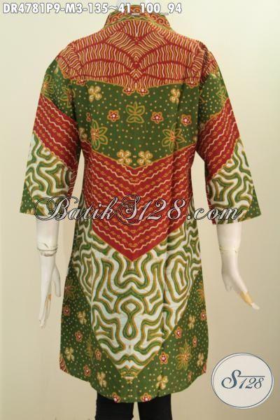 Busana Kerja Batik Dress Istimewa Buatan Solo, Pakaian Batik Halus Modis Bahan Adem Trend Masa Kini, Baju Batik Wanita Muda Motif Sinaran Model Kerah Langsung istimewa Buat Kondangan, Size M