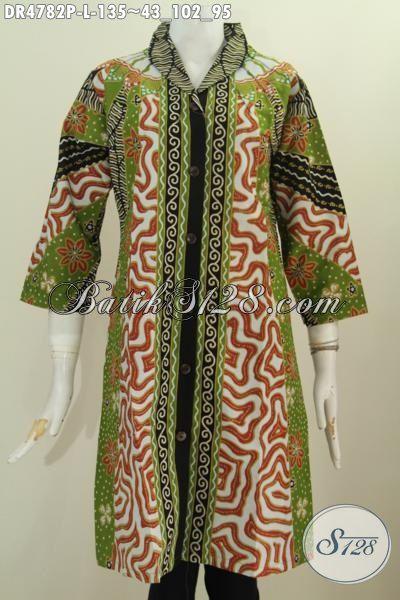 Busana Batik Untuk Kerja Wanita Karir, Hadir Dengan Model Dress Kerah Langsung Motif Klasik Sinaran Nan Mewah Proses Printing, Cocok Juga Buat Rapat, Size L