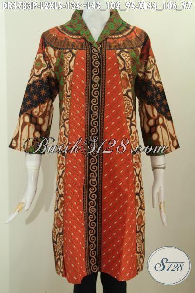 Pakaian Batik Elegan Buatan Solo Untuk Wanita, Produk Dress Batik Klasik Motif Sinaran Proses Print Bahan Adem Model Kerah Lamgsung Istimewa Buat Kondangan Dan Acara Resmi [DR4783P-XL]