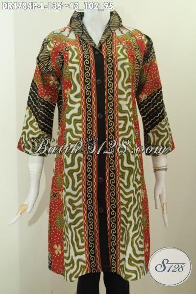 Batik Dress Solo Terbaru Dengan Model Kerah Langsung Berbahan Halus Kwalitas Istimewa Proses Printing Motif Sinaran, Pakaian Batik Mewah Dengan Harga Murah Meriah, Size L