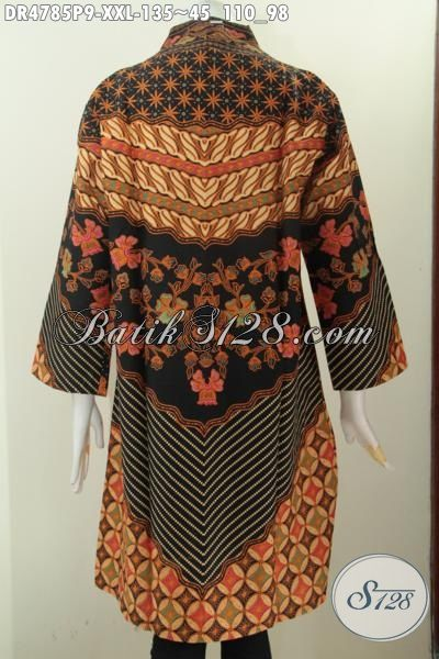 Baju Batik Model Kerah Langsung Ukuran Jumbo Motif Klasik Elegan Hadir Spesial Buat Wanita Gemuk, Produk Pakaian Batik Berkelas Non Furing Untuk Kerja Dan Acara Formal, Size XXL