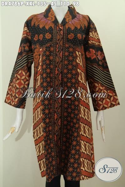 Dress Batik Klasik Motif Sinaran, Pakaian Batik Halus Proses Printing Daleman Tanpa Furing Dengan Ukuran 3L Model Kerah Langsung Wanita Gemuk Tampil Modis Dan Menawan, Size XXL