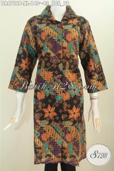 Baju Dress Batik Kerah Kotak Lancip Daleman Tidak Pakai Furing, Busana Batik Mewah Harga Murah Motif Terkini Proses Printing, Size XL