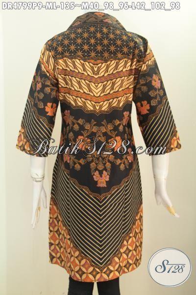 Jual Baju Dress Batik Klasik, Busana Batik Istimewa Buatan Solo Bahan Adem Motif Sinaran Proses Printing Model Kerah Kotak Lancip, Size M – L