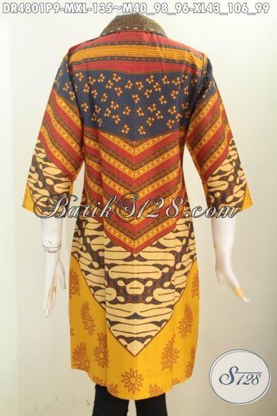 Jual Online Dress Batik Motif Klasik Sinaran Proses Printing, Pakaian Batik Modis Model Kerah Kotak Lancip Untuk Kerja Kantoran, Size M – XL