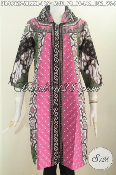 Batik Dress Solo Motif Klasik Istimewa Proses Printing, Pakaian Batik Elegan Model Kerah Kotak Lancip Motif Sinaran Cocok Untuk Seragam Kerja, Size M – L – XXL
