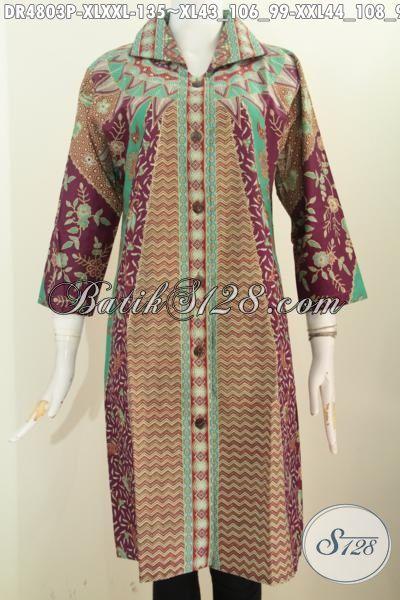 Pakaian Batik Halus Model Formal Bahan Adem, Baju Batik Dress Kerah Kotak Lancip Istimewa Bahan Adem Motif Klasik Sinaran Bahan Halus Trend Mode 2016, Size XL – XXL