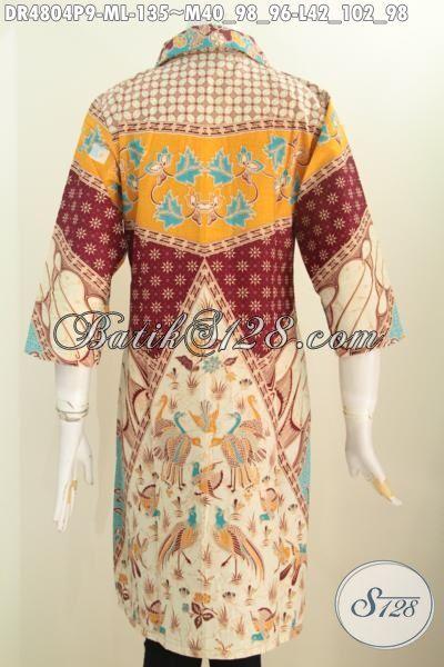 Jual Aneka Produk Dress Batik Kerah Kotak Lancip Ukuran M Dan L, Produk Busana Batik Wanita Muda Motif Klasik Sinaran Proses Printing Untuk Tampil Lebih Mempesona