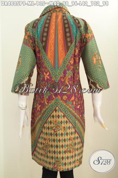 Dress Batik Murmer Kwalitas Bagus, Produk Busana Batik Istimewa Buatan Solo Motif Klasik Sinaran Proses Printing, Baju Kerja Elegan Bahan Adem Penampilan Lebih Berkelas [BLS4805P-M]