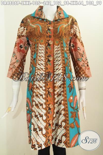 Jual Busana Batik Wanita Dewasa, Produk Tterbaru Model Dress Kerah Kotak Lancip Motif Sinaran Bahan Adem Proses Printing Buat Penampilan Lebih Cantik Menawan, Size L – XXL
