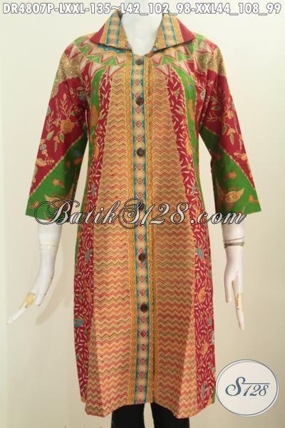 Busana Batik Dress Halus Proses Printing Bahan Adem Kwalitas Istimewa Motif Sinaran, Pakaian Batik Wanita Karir Bikin Penampilan Tambah Istimewa, Size L – XXL