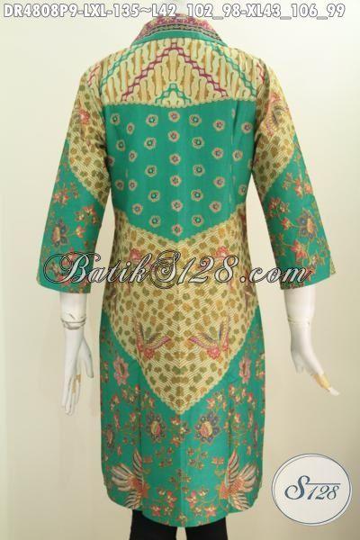 Dress Batik Hijau Motif Mewah Klasik, Baju Batik Printing Buat Wanita Penunjang Penampilan Lebih Berkelas, Pakaian Batik Modern Khas Jawa Tengah harga 100 Ribuan Model Kerah Kotak Lancip, Size L – XL