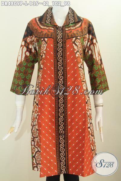 Dress Batik Klasik Motif Sinaran, Pakaian Batik Istimewa Bahan Adem Model Kerah Kotak Lancip Untuk Kerja Dan Acara Formal, Size L