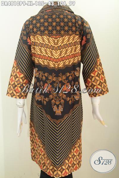 Baju Batik Kerja Dan Pesta Formal, Dress Batik Wanita Dewasa Motif Sinaran Printing Kwalitas Halus Asli Buatan Solo Model Kerah Kotak Lancip, Size XL