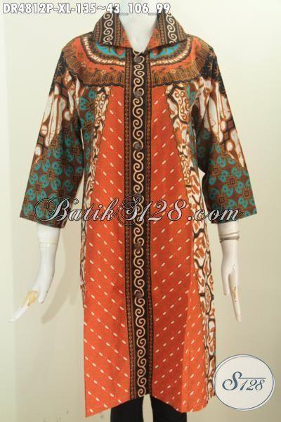 Jual Online Dress Batik Kerah Kotak Lancip Bahan Adem, Produk Terkini Baju Batik Wanita Motif Sinaran Proses Printing Harga 135K, Size XL