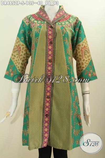 Jual Online Batik Dress Klasik Motif Sinaran Model Kerah Langsung, Pakaian Batik Wanita Muda Size S Untuk Penampilan Elegan Dan Berkelas