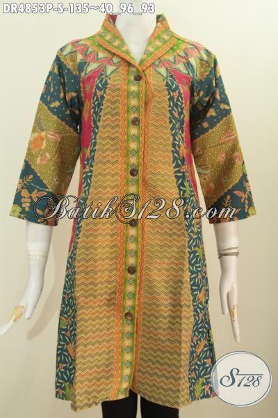 Sedia Baju Dress Elegan Bahan Adem Motif Sinaran, Produk Busana Batik Berkelas Proses Printing Asli Buatan Solo, Size S