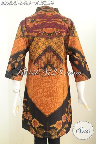 Pakaian Batik Elegan Motif Klasik, Baju Dress Printing Motif Sinaran Model Kerah Langsung Bahan Adem Asli Dari Jawa Tengah [DR4854P-S]