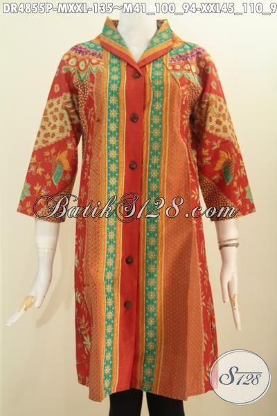 Baju Dress Warna Merah Bahan Batik Motif Klasik Sinaran Proses Printing, Pakaian Batik Istimewa Bahan Adem Buatan Solo Asli Model Kerah Kartini Untuk Kerja Dan Acara Formal, Size M – XXL