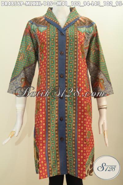 Baju Dress Batik Wanita Muda Dan Dewasa, Busana Batik Elegan Model Kerah Langsung Berbahan Halus Proses Printing Motif Klasik Bikin Perempuan Terlihat Berkelas, Size M – L – XXL
