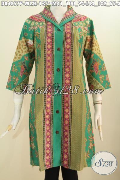 Pakaian Dress Batik Motif Klasik Sinaran, Baju Batik Elegan Model Kerah Langsung Bahan Adem Proses Printing Desain Formal Cocok Untuk Seragam Kerja Dan Rapat, Size M –  L – XXL