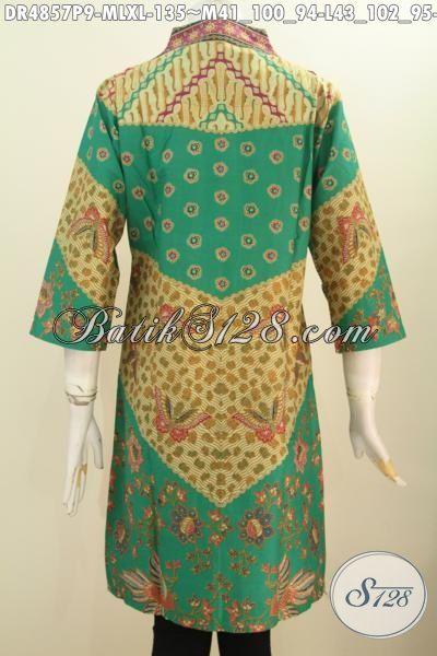 Jual Online Baju Dress Batik Kerah Langsung Kwalitas Istimewa Harga Biasa, Produk Pakaian Batik Motif Klasik Sinaran Proses Printing Asli Buatan Solo Untuk Kerja Dan Rapat [DR4857P-M , XL]