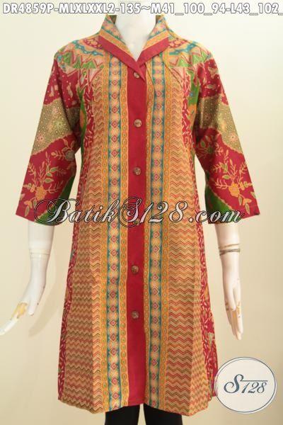 Jual Online Baju Batik Kerah Langsung, Pakaian Batik Modis Bahan Adem Proses Printing Motif Sinaran Dengan Kombinasi warna Nan Mewah Untuk Penampilan Lebih Anggun Dan Keren