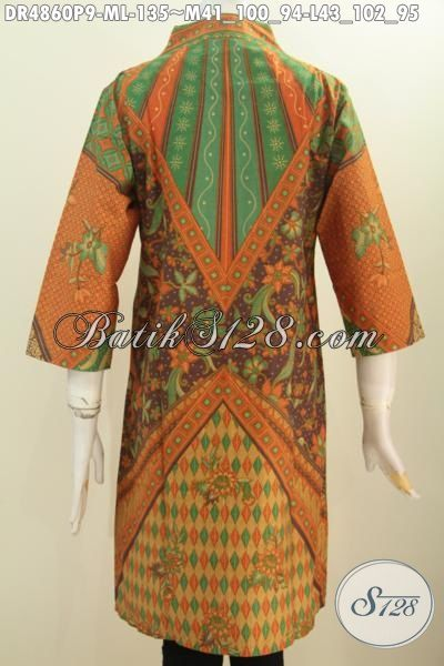 Aneka Pakaian Dress Batik Model Terkini, Busana Batik Elegan Motif Sinaran Berbahan Adem Proses Printing Model Kerah Langsung Cocok Buat Seragam Kerja [DR4860P-M]