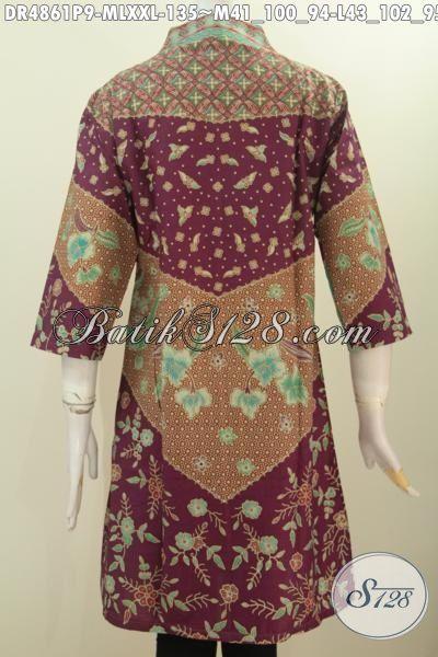 Batik Dress Terbaru, Hadir Dengan Desain Kerah Langsung Bahan Halus Proses Printing, Baju Batik Wanita Motif Sinaran Model Formal Pas Banget Untuk Ke Kantor, Size M – L – XXL