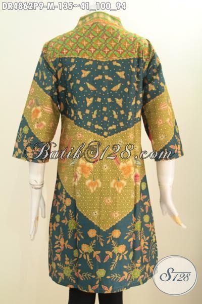 Produk Terbaru Pakaian Batik Wanita Muda Karir Aktif, Baju Batik Elegan Model Kerah Langsung Berbahan Halus Proses Printing Motif Sinaran Ukuran M Untuk Tampil Lebih Berkelas