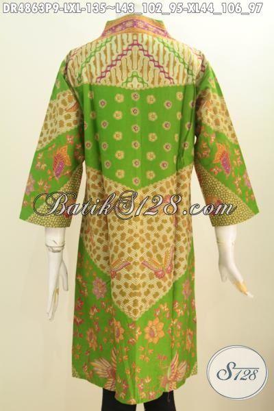 Jual Online Busana Batik Elegan Kwalitas Bagus Model Kerah Langsung, Dress Batik Solo Klasik Motif Sinaran Proses Printing Bagus Untuk Kondngan, Size L – XL