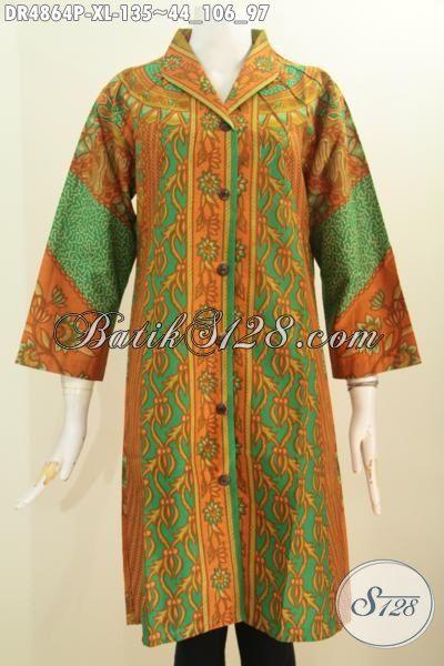 Dress Batik Elegan Bahan Adem, Produk Busana Wanita Dewasa Terkini Model Kerah Langsung Motif Klasik Sinaran Prose Printing Hanya 135K, Size XL