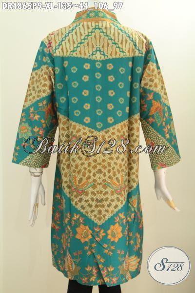 Dress Batik Fashion Wanita Dewasa, Hadir Dengan ModelKerah Langsung Berbahan Halus Motif Klasik Sinaran Proses Printing Tampil Mewah Dengan Harga 100 Ribuan, Size XL