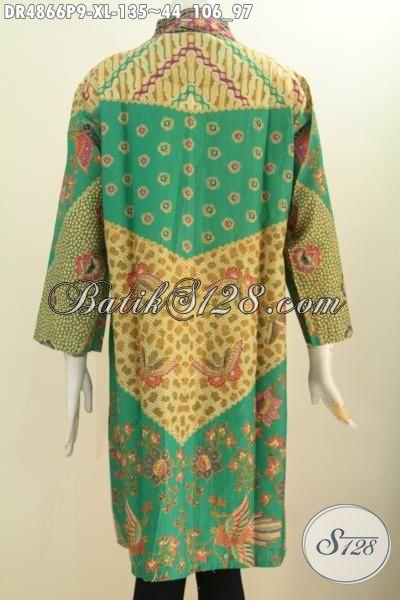 Pakaian Batik Wanita Dewasa, Baju Kerja batik Model Dress Kerah Langsung Bahan Adem Proses Printing Motif Sinaran Untuk Penampilan Lebih Berkelas Dan Mempesona, Size XL