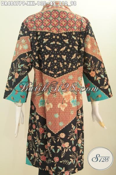 Jual Pakaian Dress Batik Klasik Ukuran Jumbo Berbahan Adem Proses Printing Model Kerah Lengsung, Baju Batik Elegan Nan Istimewa Untuk Perempuan Gemuk Terlihat Cantik Dan Menawan, Size XXL