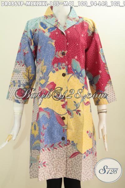 Dress Batik Halus Desain Mewah Bahan Adem Proses Printing, Baju Batik Motif Sinaran Model Kerah Langsung Untuk Acara Formal Dan Santai, Size M – L – XL – XXL