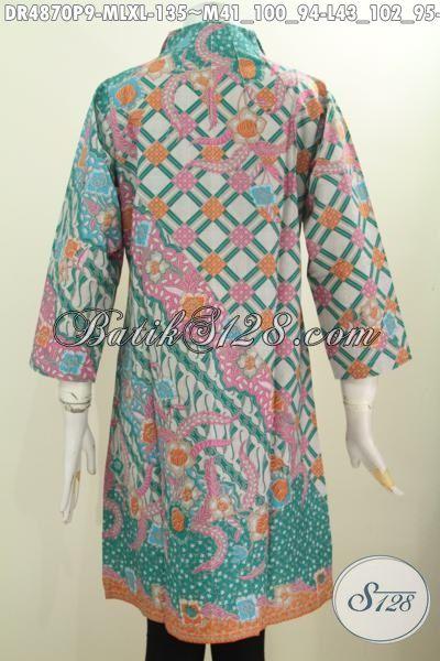 Aneka Baju Dress Batik Model Terbaru, Pakaian Batik Elegan Nan Istimewa Berbahan Adem Motif Sinaran Model Kerah Langsung Proses Printing Ukuran M – L – XL