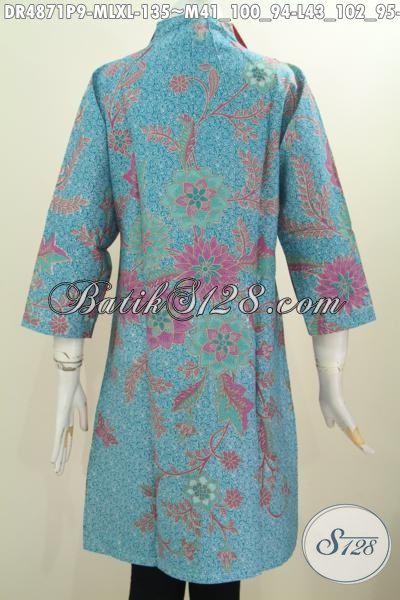 Batik Dress Modern Desain Kerah Langsung, Produk Pakaian Batik Istimewa Bahan Halus Proses Printing Bahan Adem Dengan Warna Pagi Sore Nan Berkelas [DR4871P-XL]