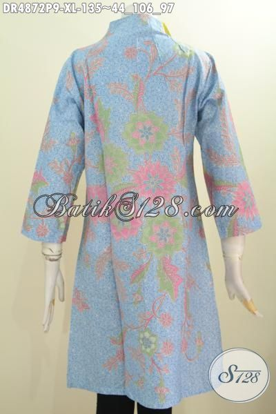 Dress Batik Keren Warna Cerah Model Kerah Langsung, Baju Batik Istimewa Bahan Halus Proses Printing Asli Buatan Solo Harga 135K, Size XL
