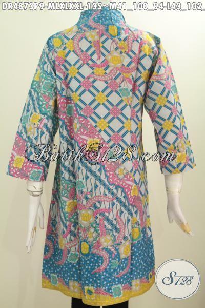 Jual Online Aneka Dress Batik Solo Model Kerah Langsung, Produk Pakaian Batik Modis Motif Bagus Dengan Kombinasi Warna Mewah Hadir Dengan Harga Yang Terjangkau, Size M – L – XL – XXL