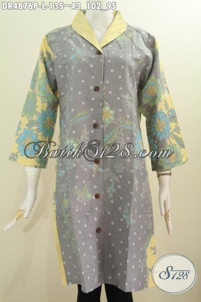 Pakaian Batik Warna Pagi Sore Nan Elegan Dan Modis, Baju Dress Batik Kerah Langsung Motif Keren Proses Printing Bisa Untuk Formal Dan Hangout [DR4876P-L]
